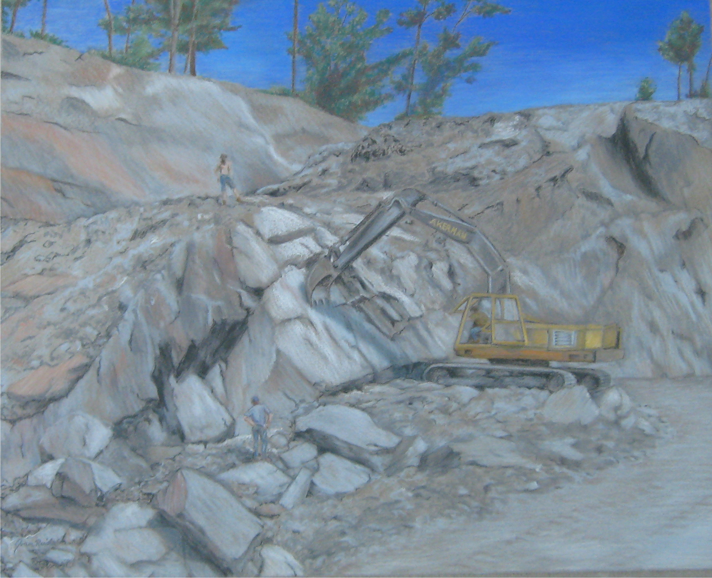 Reid_J_Slate Valley Workers - pastel painting